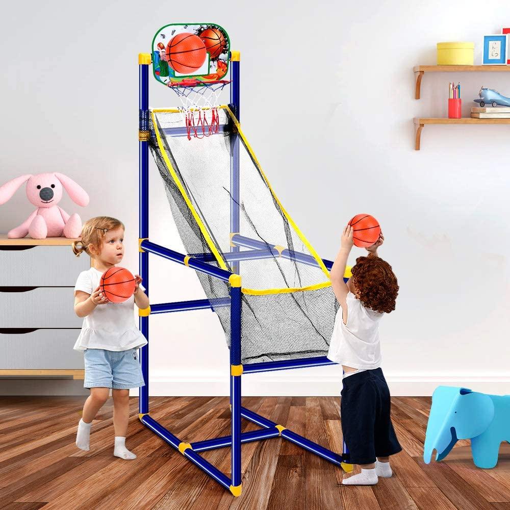arcade basketball game with hoop