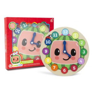 wooden learning clock in cocomelon colour gift box